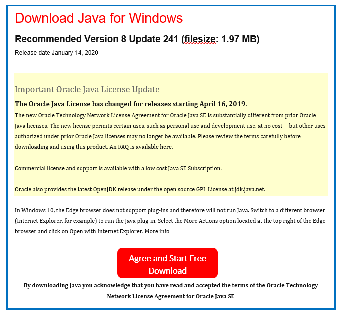 java-download-license
